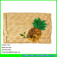 China LUDA designer handbags straw purse sequins pineapple wheat straw clutch bag on sale