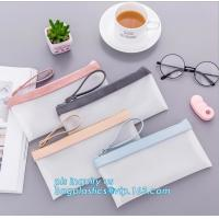 Buy cheap clear vinyl TPU pencil case bag with zipper for boys girls, Creative contracted envelope bag translucent frosted pencil product