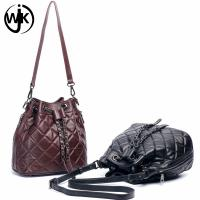 China New design hot sale popular ladies leather bucket bag custom leather strap for bag for ladies tote leather handbag on sale