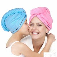 Buy cheap Super Absorbent Microfiber Hair Towel Wrap Hair Turban Head Wrap with Button product