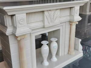 Buy cheap 30mm Thick White Marble Tile Fireplace Mantel Throughout Surround Inspirations product