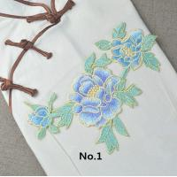 Buy cheap Custom Colorful Embroidered Tulip Floral Applique Patches Self Adhesive 22.5 CM X 16 CM product