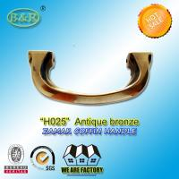 Buy cheap H025 Antique Brass Zamak Metal Coffin Handles With 14cm Screw Distance from Wholesalers