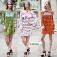sexy printed flower short dress for women in long flounce sleeve with off the shoulder