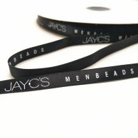 Buy cheap Custom 9mm printed satin ribbon black background white words logo color from wholesalers