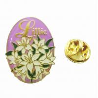 Buy cheap Resin Dome Zinc alloy gold plated Lacquered Metal Pin Badges with Custom Flowers logos product