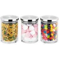 high quality square glass canister set with decal