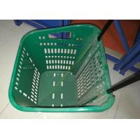Buy cheap Red Plastic Basket Carts With Wheels Supermarket / Vegetable Shopping Basket from Wholesalers