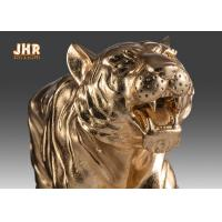 Buy cheap Large Gold Leafed Polyresin Animal Figurines Tiger Sculpture Table Statue product