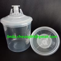 Quality transparent PP spray gun paint mixing cup soft PE material 28oz cup linners/lid for sale