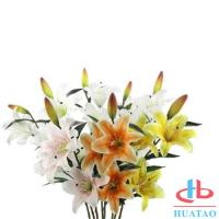 Buy cheap Single 3 Heads Lily Flowers Waterproof Artificial Flowers For Wedding product