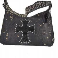 Buy cheap western cross rhinestone cowhide shoulder bag with crystal strap product