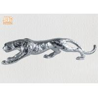 Buy cheap Home Decor Silver Leafed Polyresin Animal Figurines Fiberglass Leopard Sculpture product