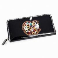 China Office Womens Leather Wallet Of Smoothly Surface / Red Synthetic Leather Clutch Bag on sale