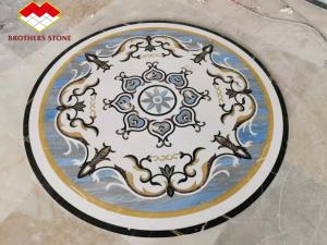 Buy cheap Natural Flower Waterjet Round Marble Tiles Medallion Carpet product