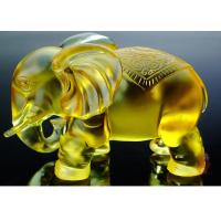 China Amber Colored Glaze Indoor Home Decoration Elephants Figurine Statue 135*80*115mm on sale
