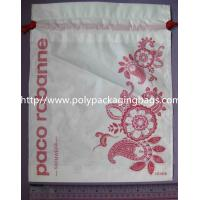 Buy cheap Small Recyclable White Plastic Drawstring Bags with Flower Printed For Underwear product