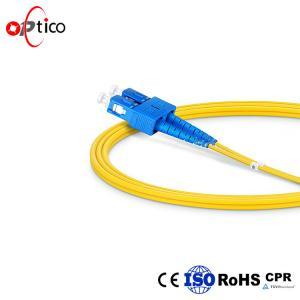 China SC UPC Fiber Optic Patch Cord SC SC Duplex 2mm Yellow Color LSZH Jacket on sale