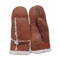 China Bilberry Cheap Patched Sheepskin Lamb Fur Mittens with Belt for lady brown color on sale