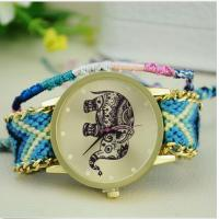 Buy cheap Cartoon Elephant Geneva Flower Watch For Ladies With Weave Strap 23CM Mixed Color product