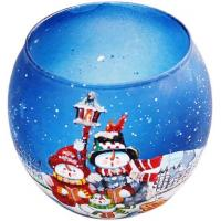 China Hand Blown Glass Christmas Ornaments , Santa Claus Snowman Painted Christmas Ball on sale