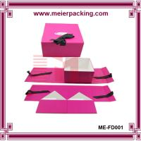 Buy cheap Professional low price sturdy Paper pink color CMYK printing baby gift box With Ribbon product