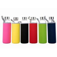 16 Oz Fancy Unbreakable Glass Water Bottle With Stainless Steel Cap