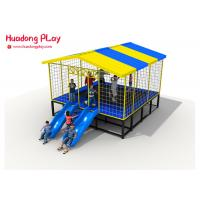 China Combined Trampoline Park Equipment ,  25 Sqm Square Trampoline With Slide Roof on sale