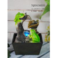 Quality Green Polyresin Frog Water Fountain With Revolving Ball 13.2 X 10 X 17.5 Cm for sale