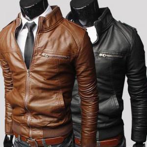 China Hot sale bulk plain polyester waterproof cheap european fashion winter men leather coat on sale