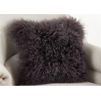 Dark Gray Fuzzy Throw Pillows, Soft Curly Hair Wool Decorative Bed Pillows