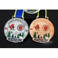 Buy cheap Canada Sports Skiing Events Custom Metal Medals, Raised Metal Shiny And Recess Mett Effect, Sublimated Ribbon product