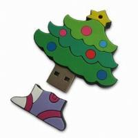 China Christmas Tree PVC USB Device Driver USB Flash Disk As Promotion Gift on sale