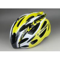 Shiny Yellow Black PC Inmould Bicycle Helmet , Different Adjustment System for Choice