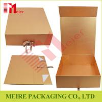 Buy cheap High quality Golden paper brand cosmetic paper box luxury packaging design with ribbon closure product