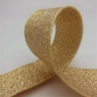 China Durable Gold Glitter Ribbon , Grosgrain Fabric Gift Packaging Ribbon on sale