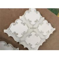 Buy cheap Waterjet Natural Stone Mosaic Tile 194 X 194mm White Mosaic Wall Tiles product