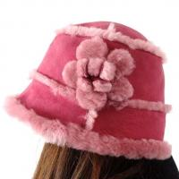 Buy cheap Lamb Fur Ladies Sheepskin Beanie Hat Adult Plain Dyed Pattern OEM / ODM product