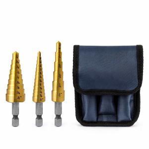 3 Piece Titanium Hss Step Drill Bit Set Hex Shank 1/8 - 3/4 With Storage Bag