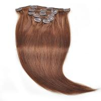 Buy cheap 7A Grade Silky Straight Dark Brown Color Brazilian Hair Clips In Hair Extension product