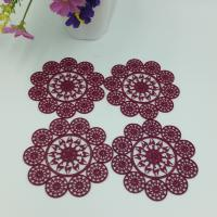 China Elegant Purplish Red Hollow Silicone Rubber PVC Coaster Table Placemat, Flower Design Consist Of Deer, Accept Paypal on sale