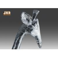 Buy cheap 183cm H Silver Mosaic Glass Polyresin Animal Figurines Giraffe Sculpture Floor Statue product