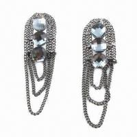 Buy cheap Faceted stone with hematite stud earrings from wholesalers