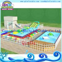 Buy cheap Metal Frame Amusement Park Inflatable Inground Pool With Pool and Slide product