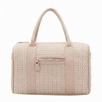 China Perforated Ladies Leather Handbags For Formal Business Party Black / Beige Tote on sale