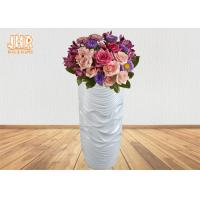 Buy cheap Wavy Pattern Glossy White Fiberglass Floor Vases For Artificial Plants 3 Piece product