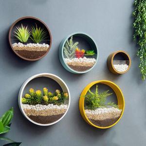 China Vase Metal Iron Art Hanging Flower Basket Round Shape Solid Color Wall Planter Decor Adornment Bonsai Creative Flower Wa on sale
