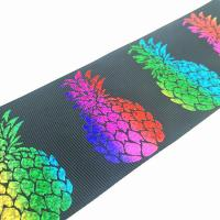 Buy cheap Hight quality custom 75mm laser foil colorful gold grosgrain pineapple ribbon product