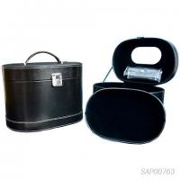 Black Leather Jewelry Travel Case / Cosmetic Travel Case Fabric Inside