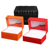 Buy cheap High Glossy Orange PU Leather Watch Box Custom LOGO Printing Environmentally Friendly product
